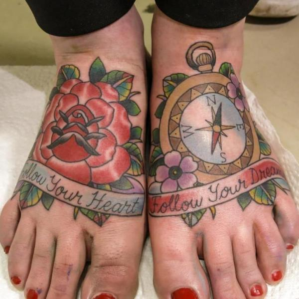 Old School Foot Flower Compass Tattoo by Spilled Ink Tattoo