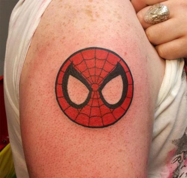 Shoulder Spiderman Tattoo by Spilled Ink Tattoo