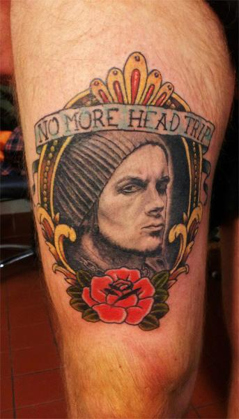 Portrait Realistic Medallion Thigh Tattoo by Spilled Ink Tattoo