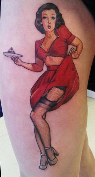 Pin-up Thigh Tattoo by Spilled Ink Tattoo