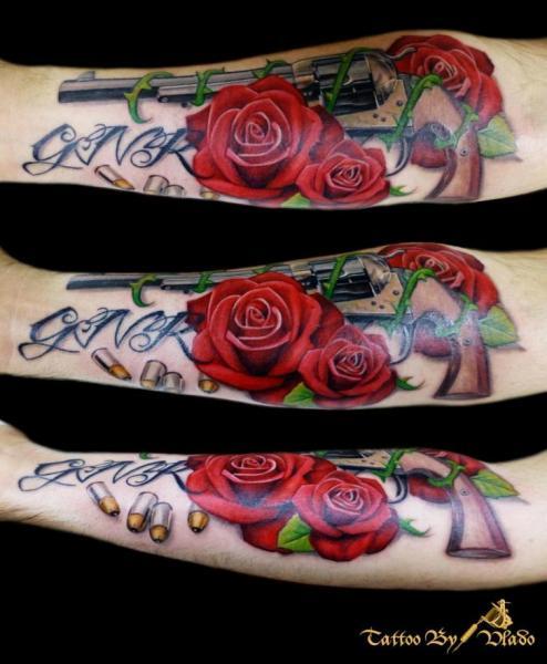 Arm Realistic Flower Gun Bullet Tattoo by Tattoo Rascal