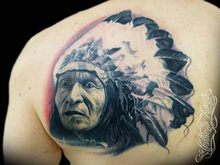 Portrait Realistic Back Indian Tattoo by Tattoo Rascal