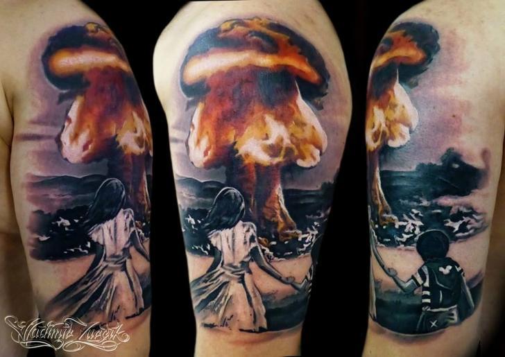 Shoulder Bomb Nuclear Tattoo by Tattoo Rascal
