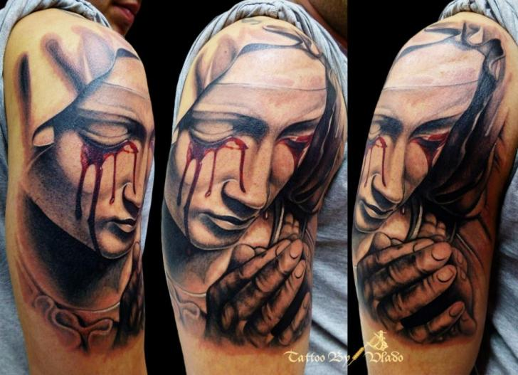Shoulder Religious Tattoo by Tattoo Rascal