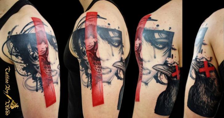 Women Crow Tattoo by Tattoo Rascal