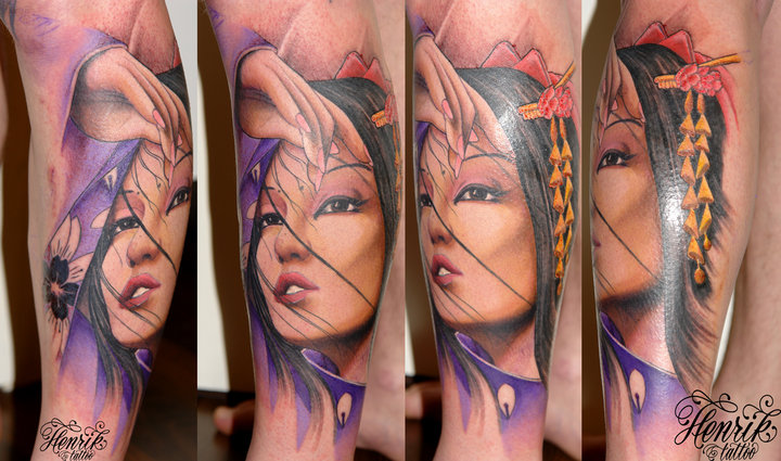 Arm Japanese Geisha Tattoo by Henrik Tattoo