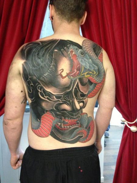 Snake Japanese Back Demon Tattoo by Henrik Tattoo