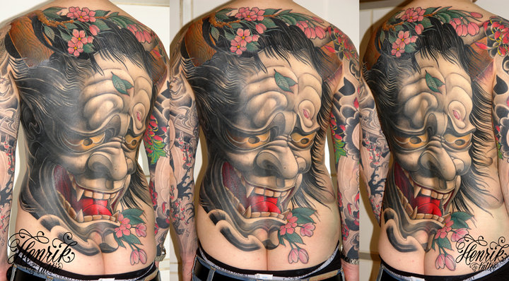 Japanese Back Demon Tattoo by Henrik Tattoo