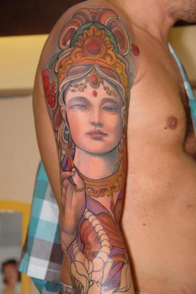 Shoulder Arm Religious Tattoo by Henrik Tattoo
