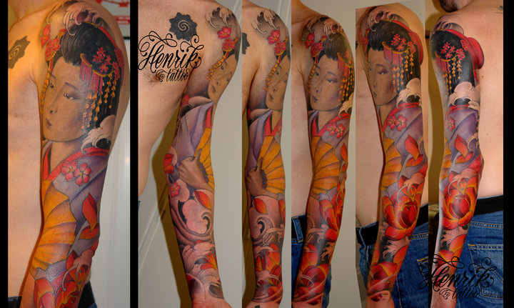 Tatouage Japonais Geisha Sleeve par Henrik Tattoo