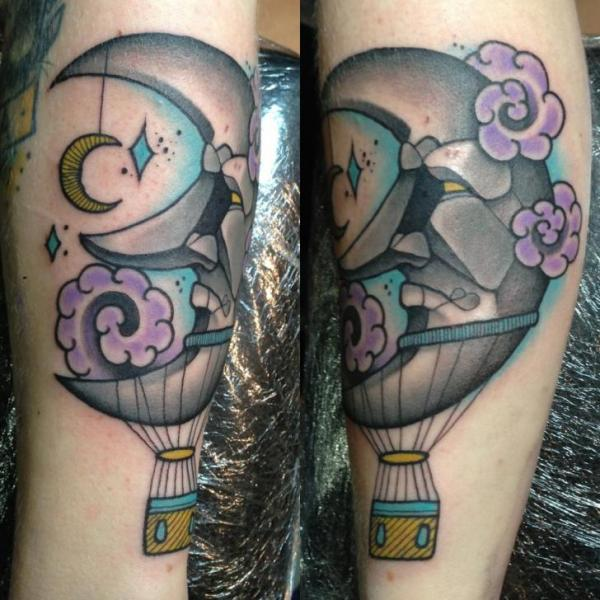 Arm Fantasy Balloon Moon Tattoo by Mitch Allenden