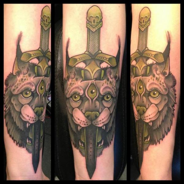 Arm Lion Dagger Tattoo by Mitch Allenden