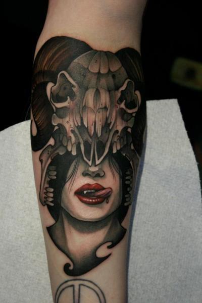 Arm Skull Vampire Tattoo by Mitch Allenden