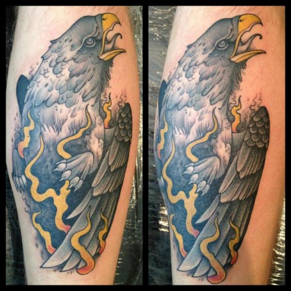 Calf Old School Eagle Tattoo by Mitch Allenden