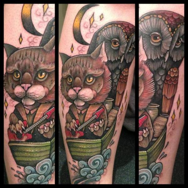 Fantasy New School Cat Owl Tattoo By Mitch Allenden