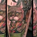 Fantasie New School Katzen Eulen tattoo von Mitch Allenden