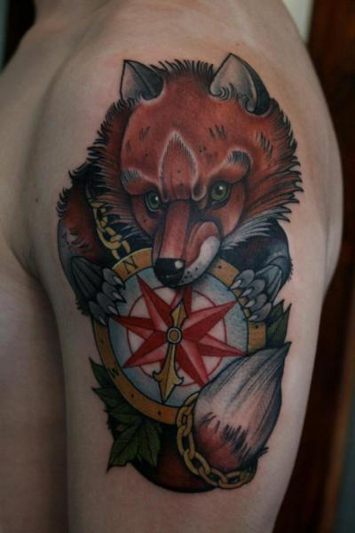 Shoulder New School Compass Fox Tattoo by Mitch Allenden