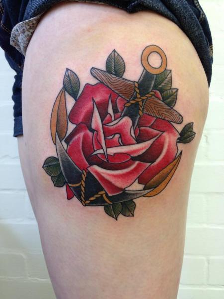 Old School Flower Anchor Thigh Tattoo by Mitch Allenden
