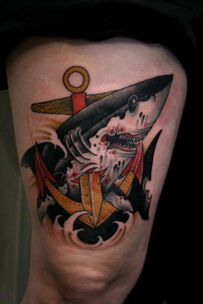 Old School Anchor Shark Thigh Tattoo by Mitch Allenden