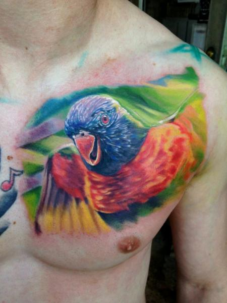 Realistic Chest Parrot Tattoo by Ron Russo