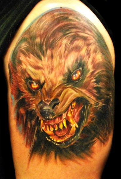 Shoulder Fantasy Wolf Tattoo by Ron Russo