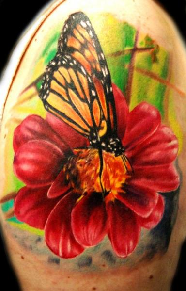 Shoulder Flower Butterfly Tattoo by Ron Russo