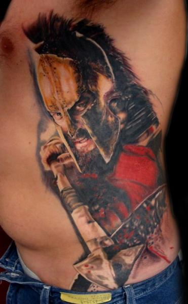 Realistic Side Warrior Tattoo by Ron Russo