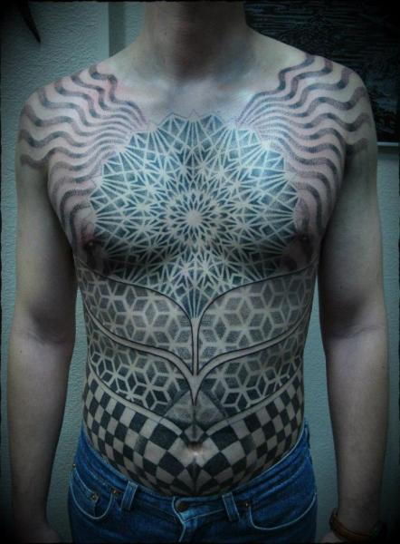 Chest Belly Dotwork Tattoo by Ivan Hack
