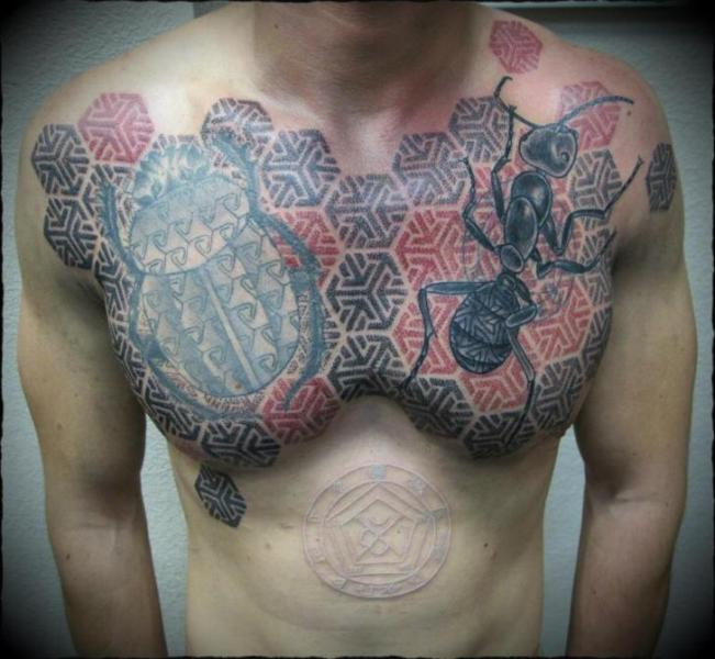 Chest Scrabble Dotwork Ant Tattoo by Ivan Hack
