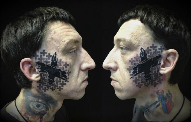 Face Dotwork Tattoo by Ivan Hack