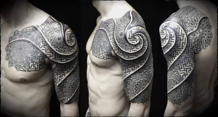 Shoulder Dotwork Spiral Tattoo by Ivan Hack