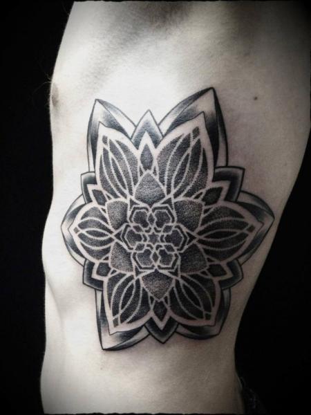 Flower Side Dotwork Tattoo by Ivan Hack