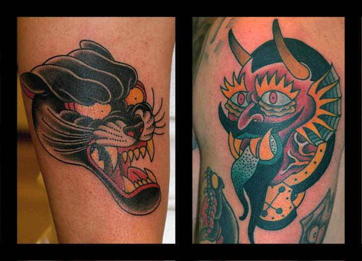 Arm Old School Panther Tattoo by The Sailors Grave
