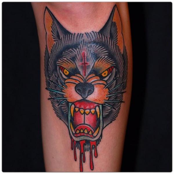 Arm Old School Wolf Tattoo by The Sailors Grave