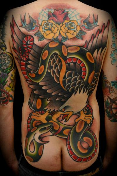 Snake Old School Back Eagle Butt Tattoo By The Sailors Grave