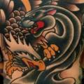 Old School Back Eagle Panther tattoo by The Sailors Grave