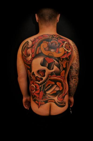 Old School Skull Back Dagger Tattoo by The Sailors Grave