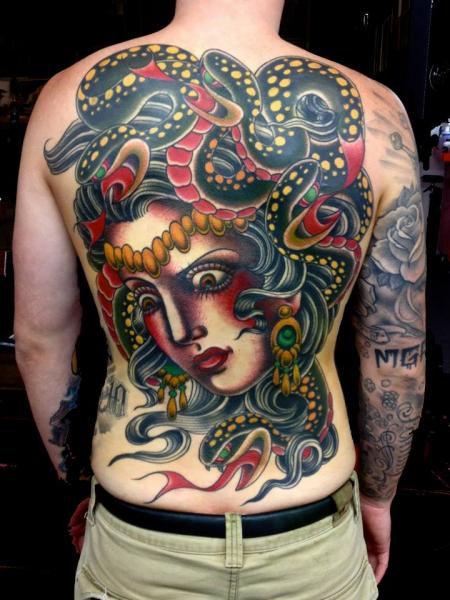 Snake Old School Women Back Tattoo by The Sailors Grave