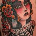 Old School Leg Gypsy tattoo by The Sailors Grave