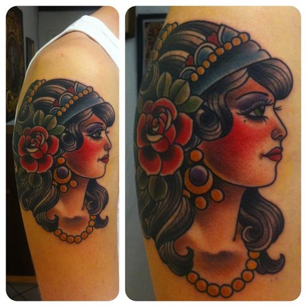 Shoulder Old School Gypsy Tattoo by The Sailors Grave