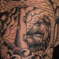 Shoulder Lighthouse Old School Ship tattoo by The Sailors Grave