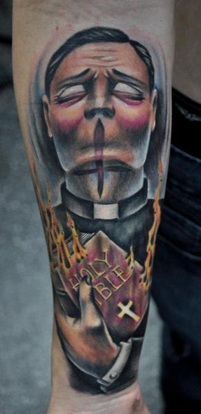 Arm Fantasy Priest Tattoo by Benjamin Laukis