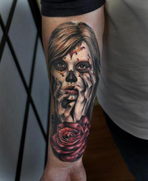 Arm Flower Mexican Skull Tattoo by Benjamin Laukis