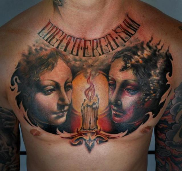 Fantasy Chest Women Candle Tattoo by Benjamin Laukis