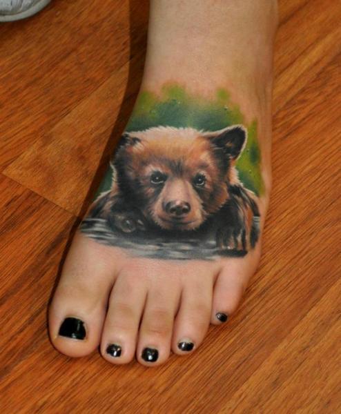 Realistic Foot Bear Tattoo by Benjamin Laukis