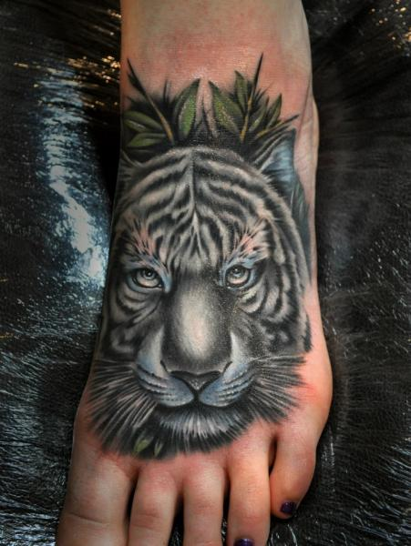 Realistic Foot Tiger Tattoo by Benjamin Laukis