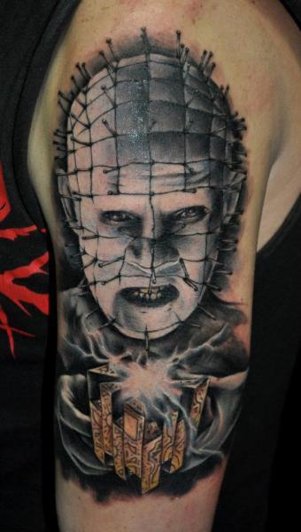 Shoulder Fantasy Hellraiser Tattoo by Benjamin Laukis