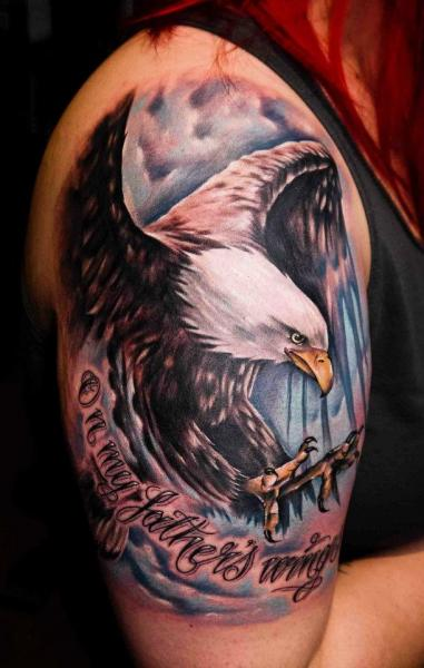 Shoulder Realistic Eagle Tattoo by Benjamin Laukis