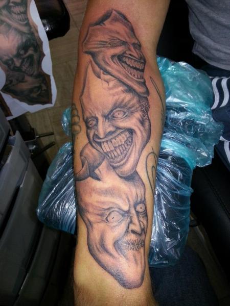 Arm Fantasy Mask Tattoo by Dingo Tattoo