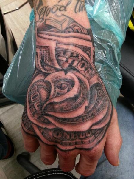 Fantasy Flower Hand Tattoo by Dingo Tattoo
